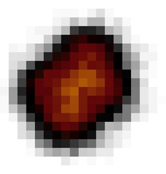 Pixel explosion isolated over white in fire color vector