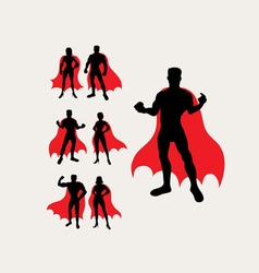 Couple superhero silhouettes vector