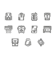 Home climate equipment black line icons vector