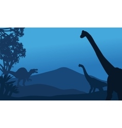 Silhouette of brachiosaurus and spinosaurus vector