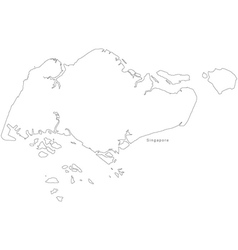 Black White Singapore Outline Map Royalty Free Vector Image - Singapore map vector