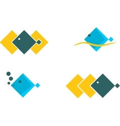 Sea icons set square design fish vector