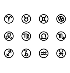 Black zodiac symbols icon set vector