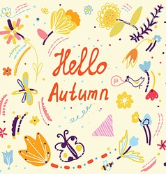 Autumn funny card with floral design and birds vector image