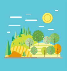 Autumn landscape in flat style vector