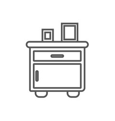bedside table isolated icon in linear style vector image vector image
