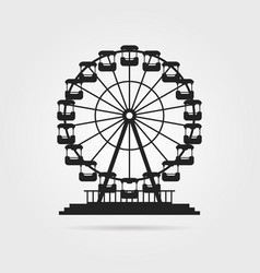 black ferris wheel with shadow vector image vector image