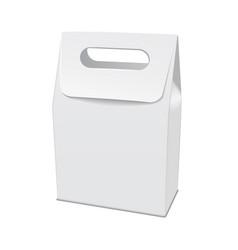 Blank white 3d model cardboard take away food box vector