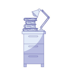 Blue shading silhouette of filing cabinet with vector