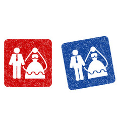 Bride and groom grunge textured icon vector