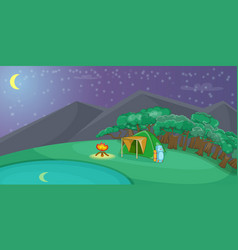 Camping horizontal banner night cartoon style vector