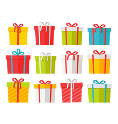Colourful christmas boxes set isolated on white vector