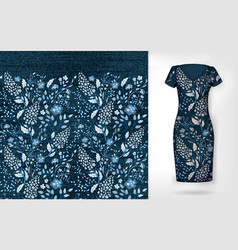 Denim floral seamless pattern on realistic vector