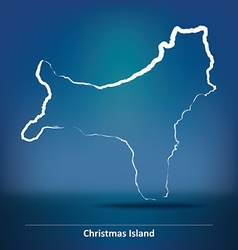 Doodle map of christmas island vector