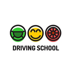 Driving school logo template Symbols of driving vector image