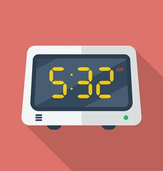 Electronic alarm clock icon Modern Flat style with vector image vector image