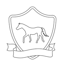 Equestrian blaze icon in outline style isolated on vector