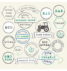 Farm Fresh Organic Stamps Set vector image