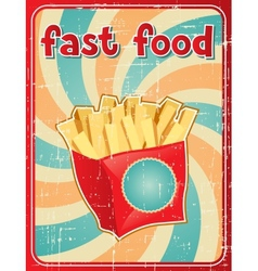 Fast food background with french fries in retro vector image vector image