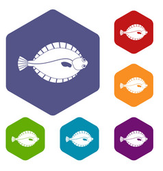 Flounder icons set hexagon vector