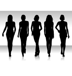 girls silhouette collection vector image