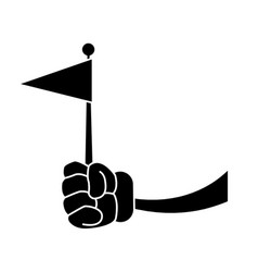 glove hand with flag vector image vector image