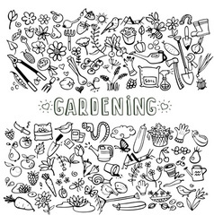 hand drawn garden icons vector image