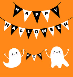 Happy halloween flying ghost spirit holding vector