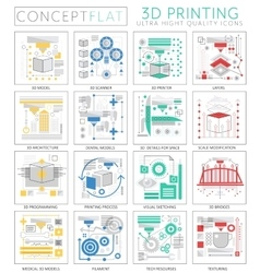 Infographics mini concept 3d printing technology vector image vector image