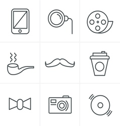 Line icons style hipster retro vintage elements mo vector