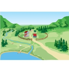 little the country at the foot of mountains vector image