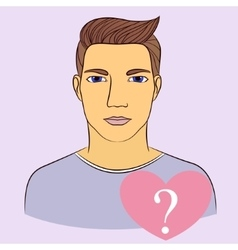 Man with question in heart vector image vector image