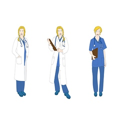 Medical staff woman full body caucasian color vector