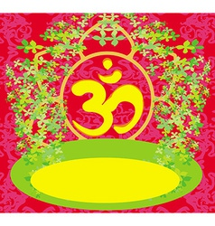 Om aum symbol on a red background vector