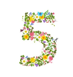ornate font consisting of the spring flowers and vector image vector image