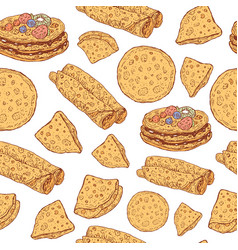 pancakes seamless pattern doodle cartoon ornament vector image vector image