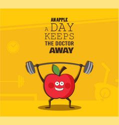 Poster of happy apple exercise at a gym healthy vector