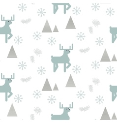 Reindeer in a snowy woods seamless pattern vector
