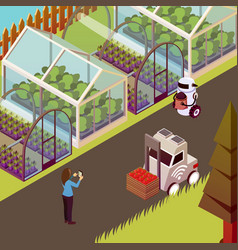 Robots and hothouse background vector