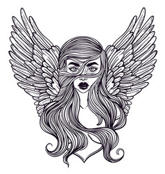 Scandinavian goddess valkyrie with wings vector