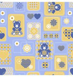 seamless from hearts and bears vector image