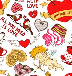 Seamless pattern with funny cartoon love elements vector image vector image