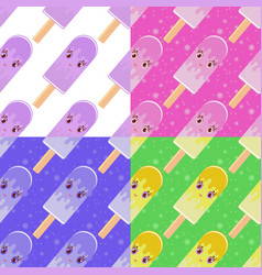 set of seamless patterns in flat cartoon vector image vector image