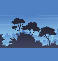 Silhouette tree on the rain forest landscape vector