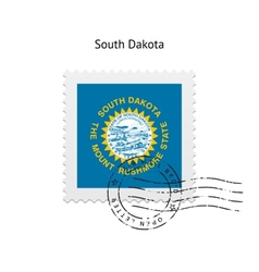 State of south dakota flag postage stamp vector