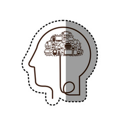 Sticker silhouette profile human head with tech vector