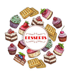 Sweets and dessert cakes poster vector