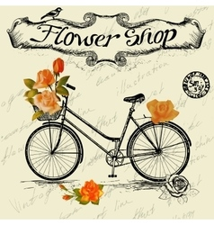 Vintage poster for flower shop design with bicycle vector