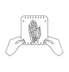 X-ray picture of the hand of a person in the hands vector