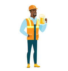 Young african-american builder drinking beer vector